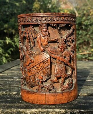 Fine Chinese Qing Dynasty Carved Bamboo Brush Pot Bitong Decorated Figures