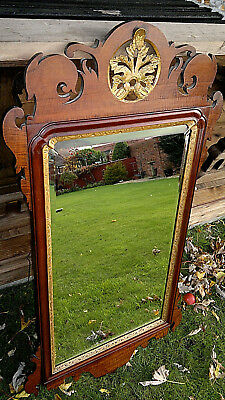 """Antique Georgian Fretwork Chippendale Mirror Mahogany Bevelled Glass 42"""" by 23"""""""