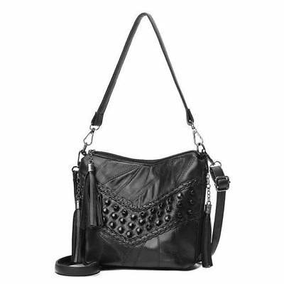 Women Tassel Decorated Bucket Shape Patchwork Black Color Shoulder Bag J411