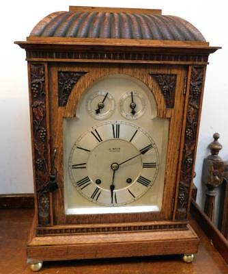 oak cased winterhalder & hoffmeir 1/4 strike bracket clock