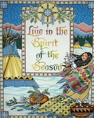 Completed Counted Cross Stitch Unframe Tapestry Picture Live In Spirit of Season