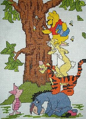 Completed Counted Cross Stitch Unframe Tapestry Picture Winnie The Pooh
