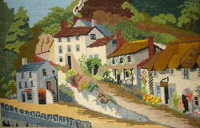 Vintage Cross Stitch Tapestry Picture Unframed Cottages On A Hill