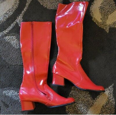 Authentic Vintage Red Vinyl 60s-70s Knee High GoGo Boots