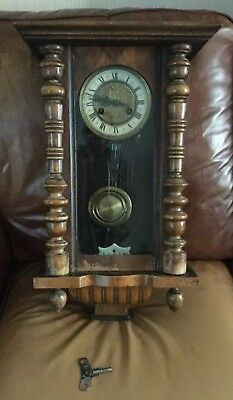 Antique Vienna Wall Clock With Brass Face And Horses