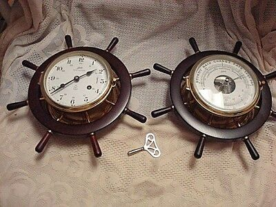 Vintage Schatz Brass 8 Day Ship Clock & Schatz Brass Barometer Made In Germany