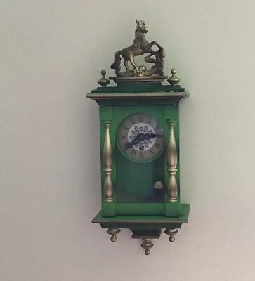 Stunning Vintage Mechanical Wind Up Pendulum Wooden Wall Clock West Germany