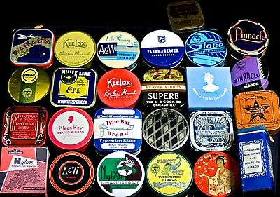 25 All Different TYPEWRITER RIBBON TINS--COMMON (#1), EXCELLENT CONDITION TINS