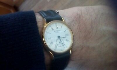Vintage Rotary Gent's Watch With Date New Battery Roman Num.centre Seconds
