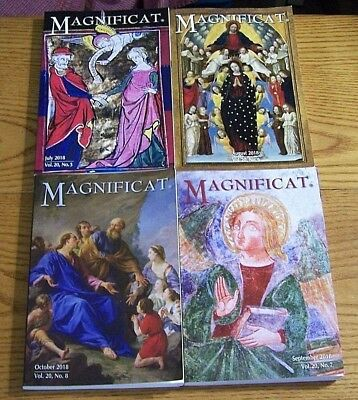 4, issues of the Magnificat Magazine (Catholic) From 2018, July Aug. Sept. & Oct