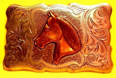 SOLID STERLING SILVER by FRONTIER Arabian Horse Head Belt Buckle FREE SHIPPING