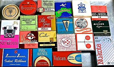 20 All Different TYPEWRITER RIBBON TINS (CARDBOARDS)--GOOD TO EXCELLENT CONDN.