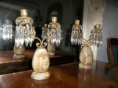 Excuisite Vintage Onyx Veined And Gilt Bronze  Lustred Candelabra