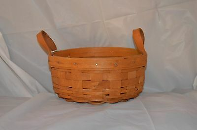 "LONGABERGER 1993 6 1/2"" Round BASKET with Leather Handles"