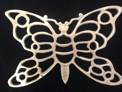 Vintage Butterfly Solid Brass Trivet Art Deco Mid Century Modern Home Decor Sand