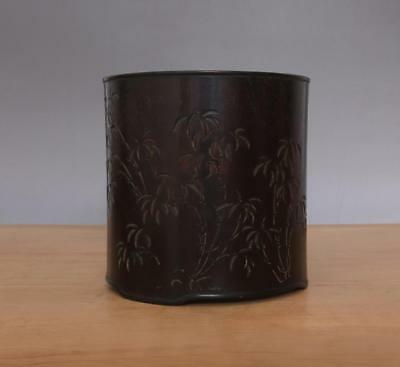 Rare Old Chinese Handmade Rosewood Brush Pot W/bamboo