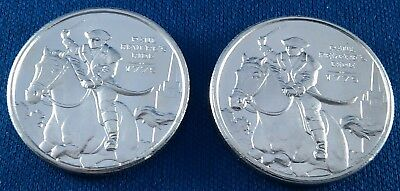 Lot of 2 Vintage Paul Revere's Ride 1/2 Ounce .999 Silver Rounds