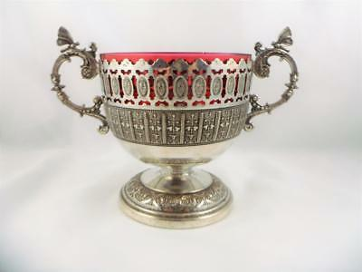 Quality Antique Victorian Silver Plate Cranberry Glass Liner Butterfly Bowl 1875