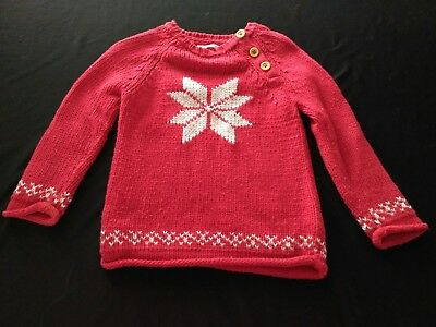 Baby Mini Boden Girls Boys Red Snowflake Holiday Sweater 18-24 Months