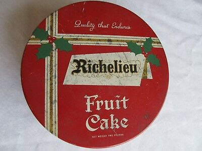 Vintage Richelieu Holiday Fruit Cake Tin Sprague Warner USA Food Advertising