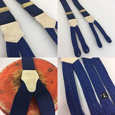 Vintage 1950s Dead Stock button braces Plain Blue Braid End 25mm Wide