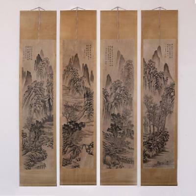 Dong Qichang Signed Four of Old Chinese Hand Painted Calligraphy Scroll
