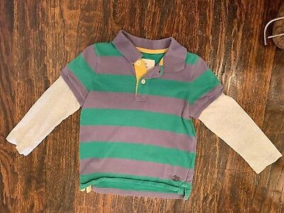 Mini Boden Boys Polo Style Super Soft Long Sleeve T-Shirt Size 3-4Y