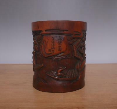 Signed Chinese Carved Figures Bamboo Brush Pot w/Figures