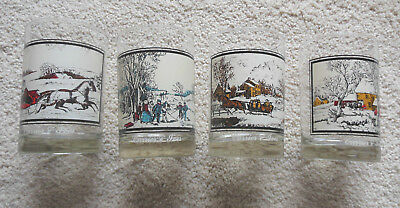 1978 Currier and Ives Complete set of 4 Winter Scene Glasses Arby's