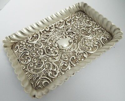 Lovely Decorative English Antique 1902 Solid Sterling Silver Calling Card Tray