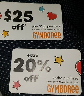 Gymboree 20% off AND $25 off $100, exp  11-23-18