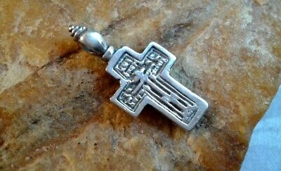 "Vintage Solid Silver ""old Believers"" Orthodox Smaller Cross Pendant"