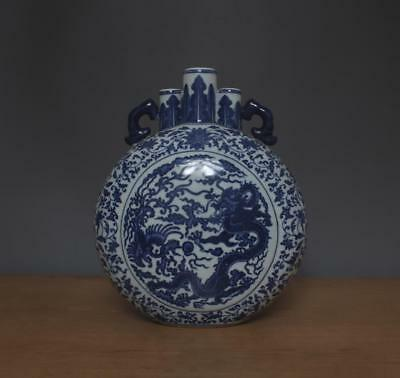Qianlong Signed Antique Chinese Blue & White Porcelain Flat Vase w/Dragon