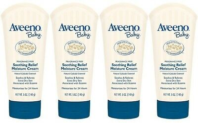 4 pack - Aveeno Baby - Soothing Relief Moisture Cream - Fragrance Free - 5 Oz