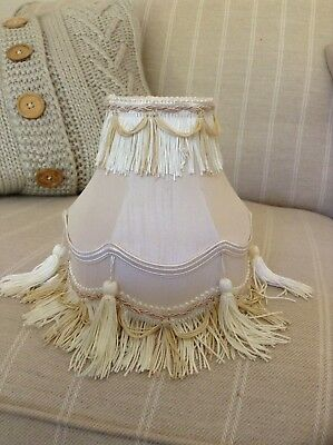 Vintage Art Deco Style Cream Lampshade With Fringing Braiding Swags Shabby Chic