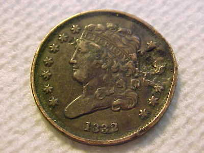 1832 Classic Head   Half Cent Xf With Damage Still Cool Coin !