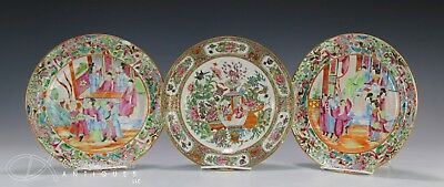 Lot Of 3 Antique Chinese Rose Mandarin Famille Rose Plates - 19Th Century
