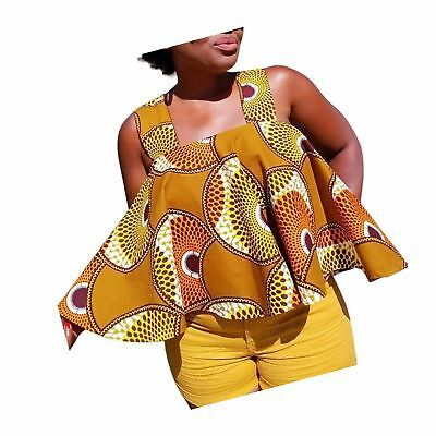 LANDFOX Women African Print Tee Shirt Sleeveless Tops Strapless Blouse T Shir...