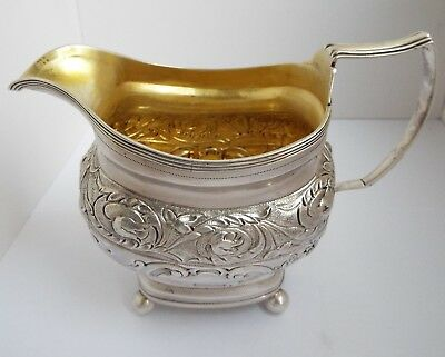 Superb Large Decorative English Antique Georgian 1809 Sterling Silver Cream Jug