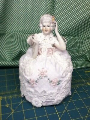 half doll pin cushion elegant lady