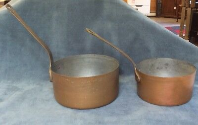 Lot of 2 Vintage Copper Tin-Lined Brass Handled Sauce Pans Pots