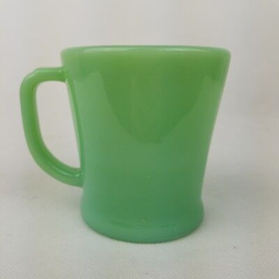 Vtg Fire King Jadeite Green D Handle Flat Bottom Coffee Mug Cup Oven Ware