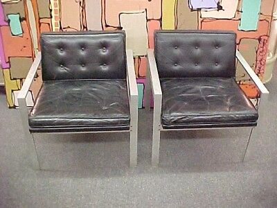Pair of Vintage 1960's Mid Century Harvey Probber Aluminum Leather Chairs