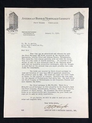 1926 Philadelphia PA American Bond Mortgage Co Letterhead New York Chicago