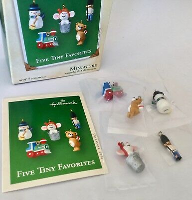 New 2002 Five Tiny Favorites Hallmark Miniature Ornament Set/5 w/Card Mouse/Bear