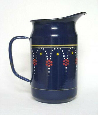 Rare Large Antique Vintage Blue French Enamel Pitcher ~ Art Deco Design