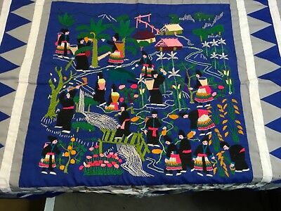 Guatemalan Hand Stitch Embroidered Quilted Top Wall Hanging Tabletop