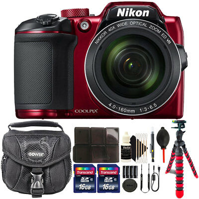Nikon COOLPIX B500 16MP Built-in Wi-Fi Digital Camera Red + 32GB Accessory Kit