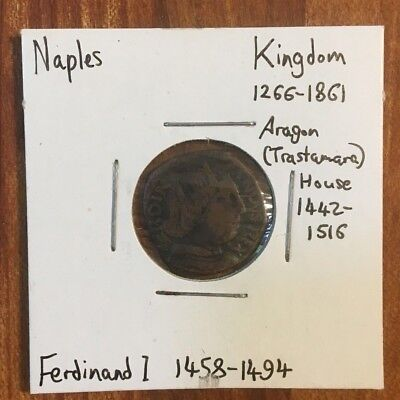 Kingdom of NAPLES - small copper coin, 1 cavallo, Ferdinand I, 1458-1494