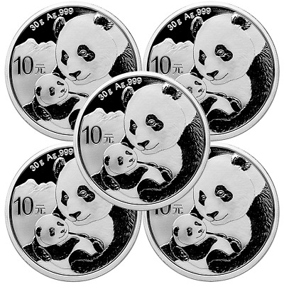 Lot of 5 - 2019 10 Yuan Silver Chinese Panda .999 30g BU In Cap